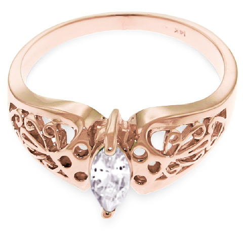 Marquise Cut White Topaz Filigree Ring 0.2ct in 14K Rose Gold