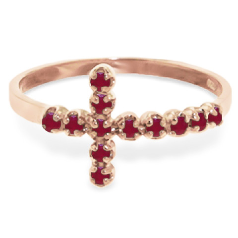 Ruby Cross Ring 0.3ct in 9ct Rose Gold