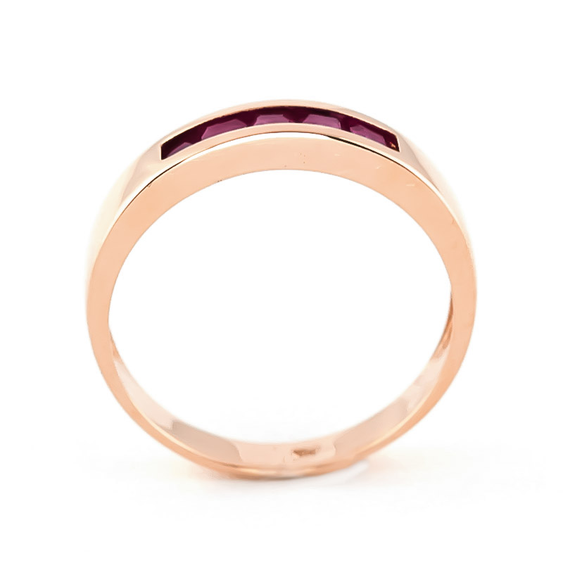 Princess Cut Ruby Ring 0.6ctw in 9ct Rose Gold