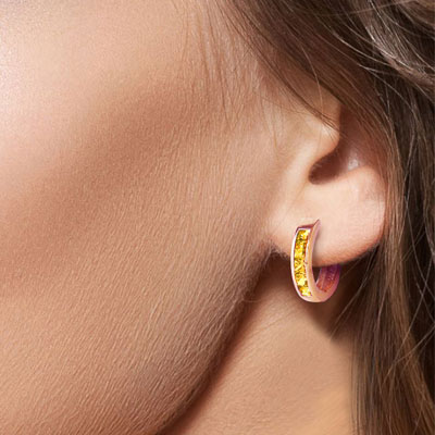 Citrine Huggie Earrings 0.7ctw in 14K Rose Gold