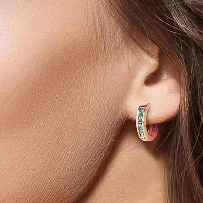 Emerald Huggie Earrings 0.8ctw in 9ct Rose Gold