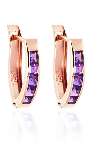 Amethyst Acute Huggie Earrings 0.85ctw in 14K Rose Gold