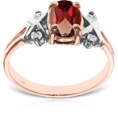Garnet and Diamond Ring 0.85ct in 9ct Rose Gold