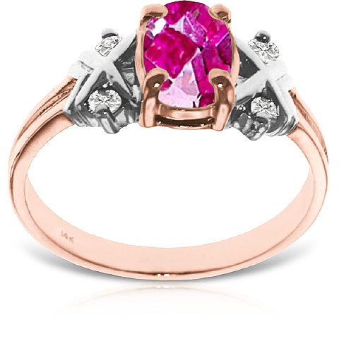 Pink Topaz and Diamond Ring 0.85ct in 14K Rose Gold