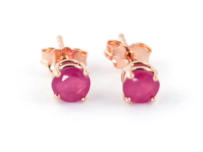 Ruby Stud Earrings 0.95ctw in 9ct Rose Gold
