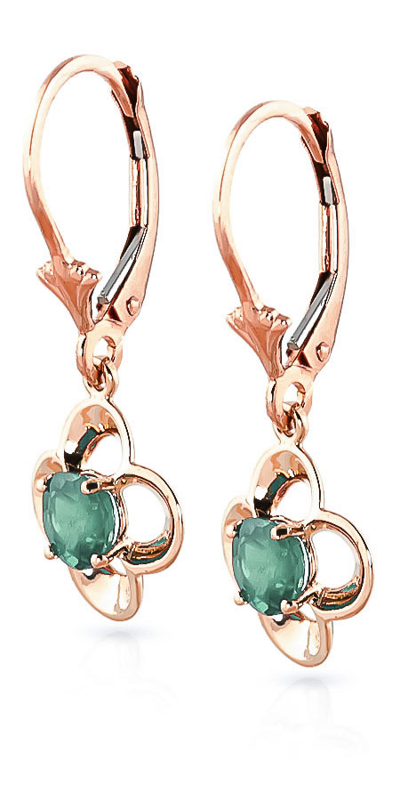 Emerald Corona Drop Earrings 1.1ctw in 14K Rose Gold