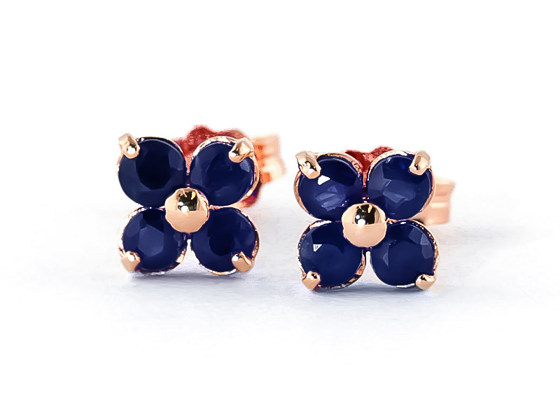 Sapphire Clover Stud Earrings 1.15ctw in 14K Rose Gold