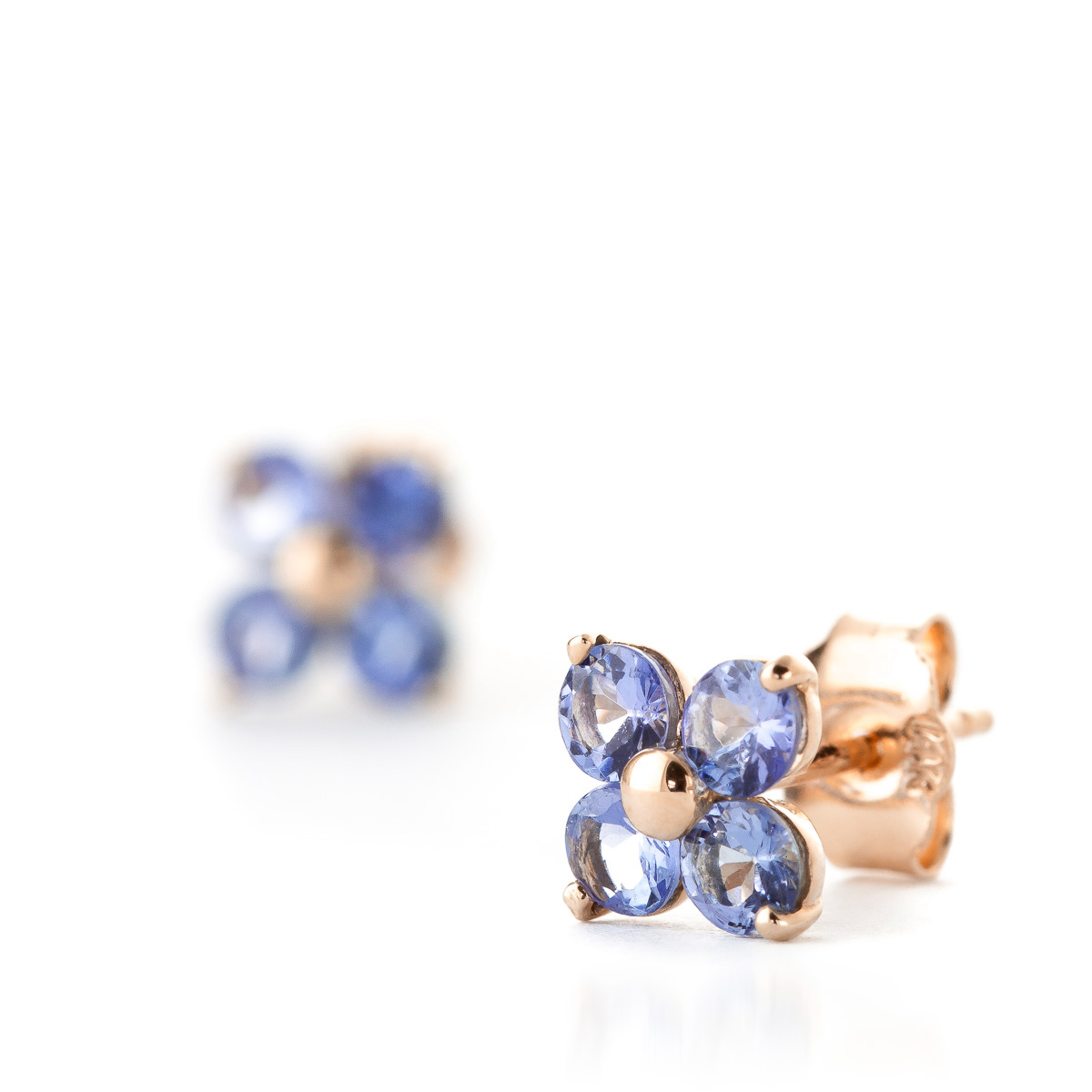Tanzanite Clover Stud Earrings 1.15ctw in 14K Rose Gold