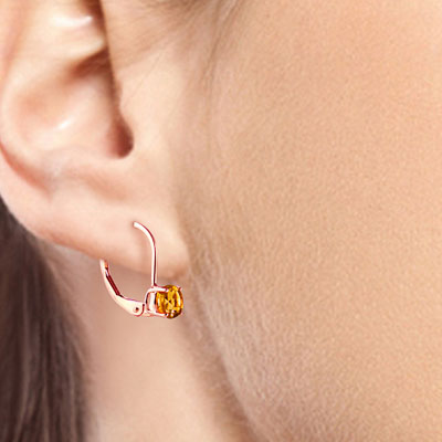 Citrine Boston Drop Earrings 1.2ctw in 9ct Rose Gold