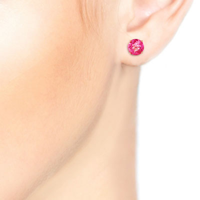 Pink Topaz Stud Earrings 1.3ctw in 9ct Rose Gold