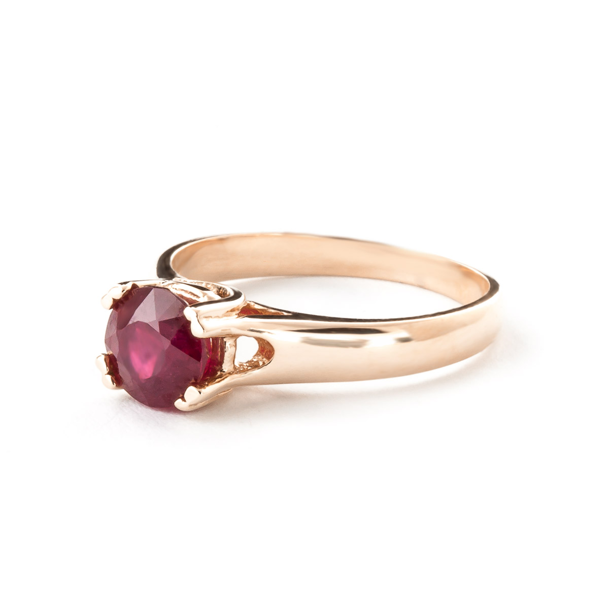 round brilliant cut ruby solitaire ring in 9ct rose. Black Bedroom Furniture Sets. Home Design Ideas