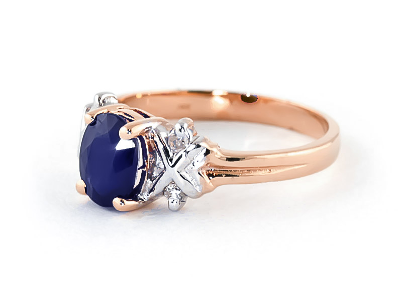 Sapphire and Diamond Ring 1.35ct in 9ct Rose Gold