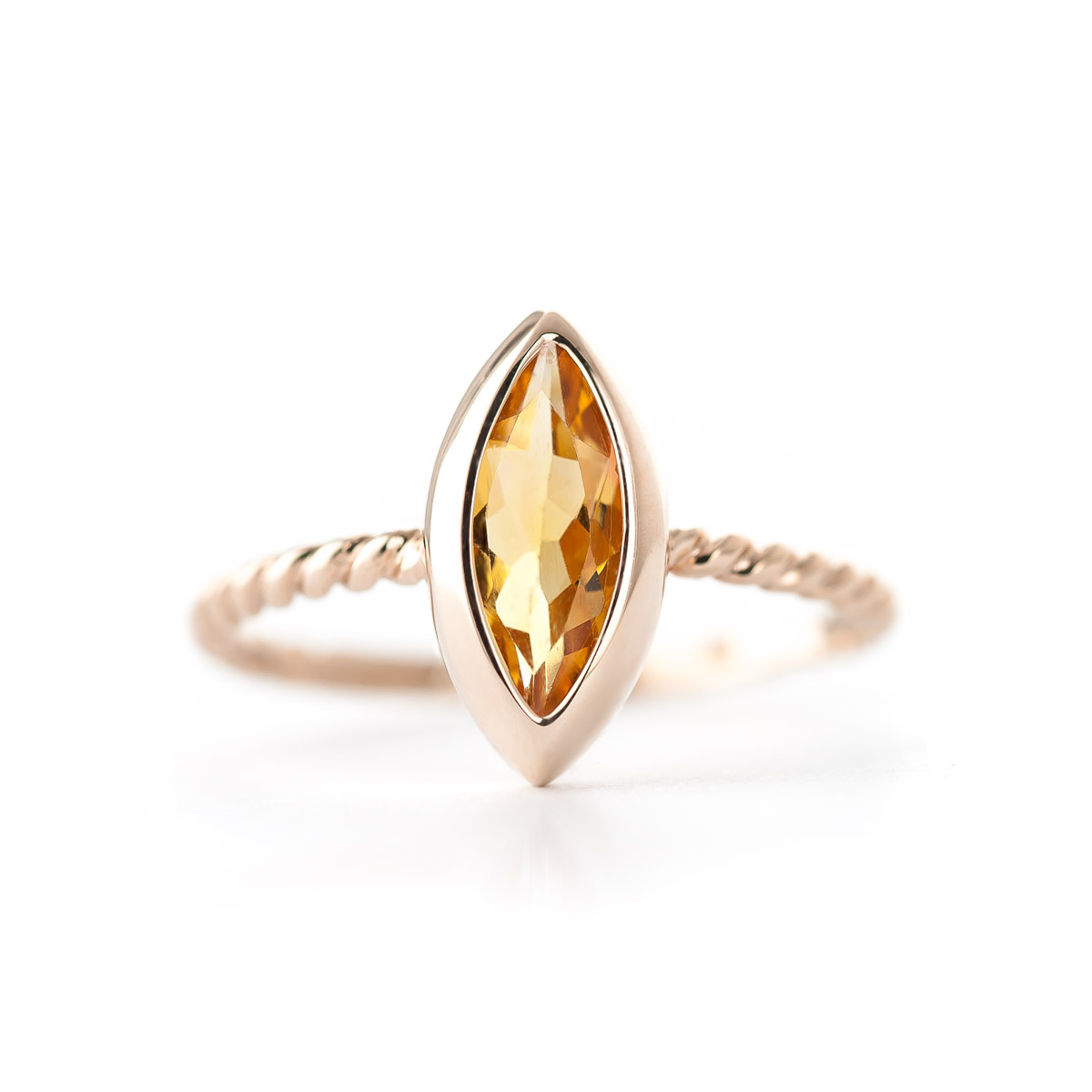 Marquise Cut Citrine Ring 1.7ct in 14K Rose Gold