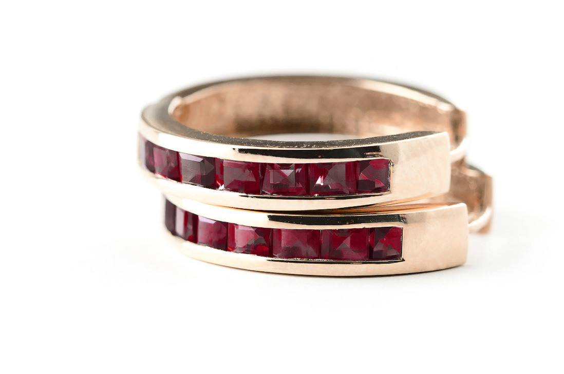 Garnet Huggie Earrings 1.85ct in 14K Rose Gold