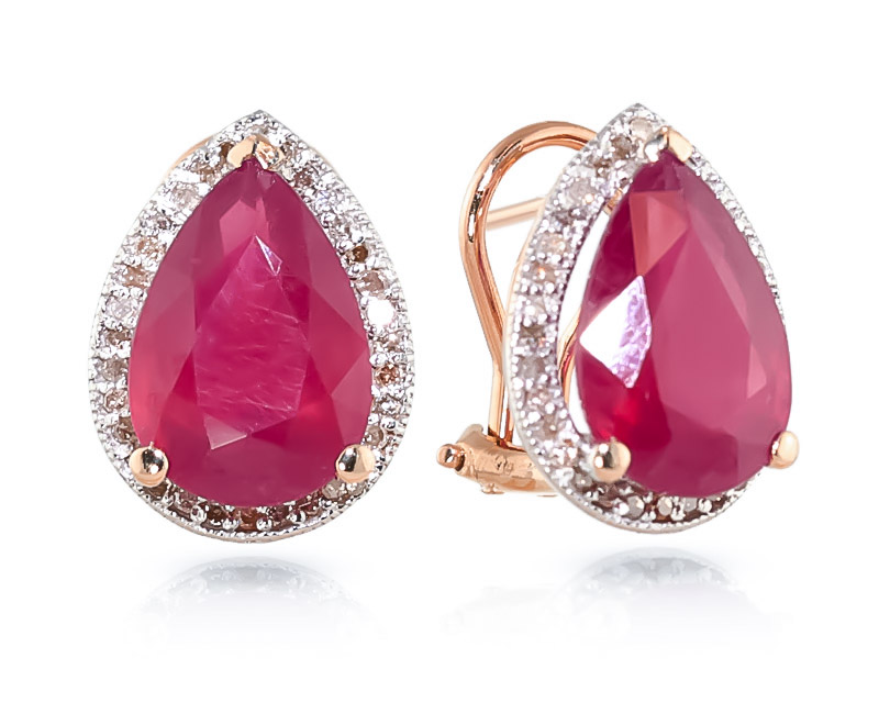 Ruby and Diamond French Clip Halo Earrings 10.7ctw in 9ct Rose Gold