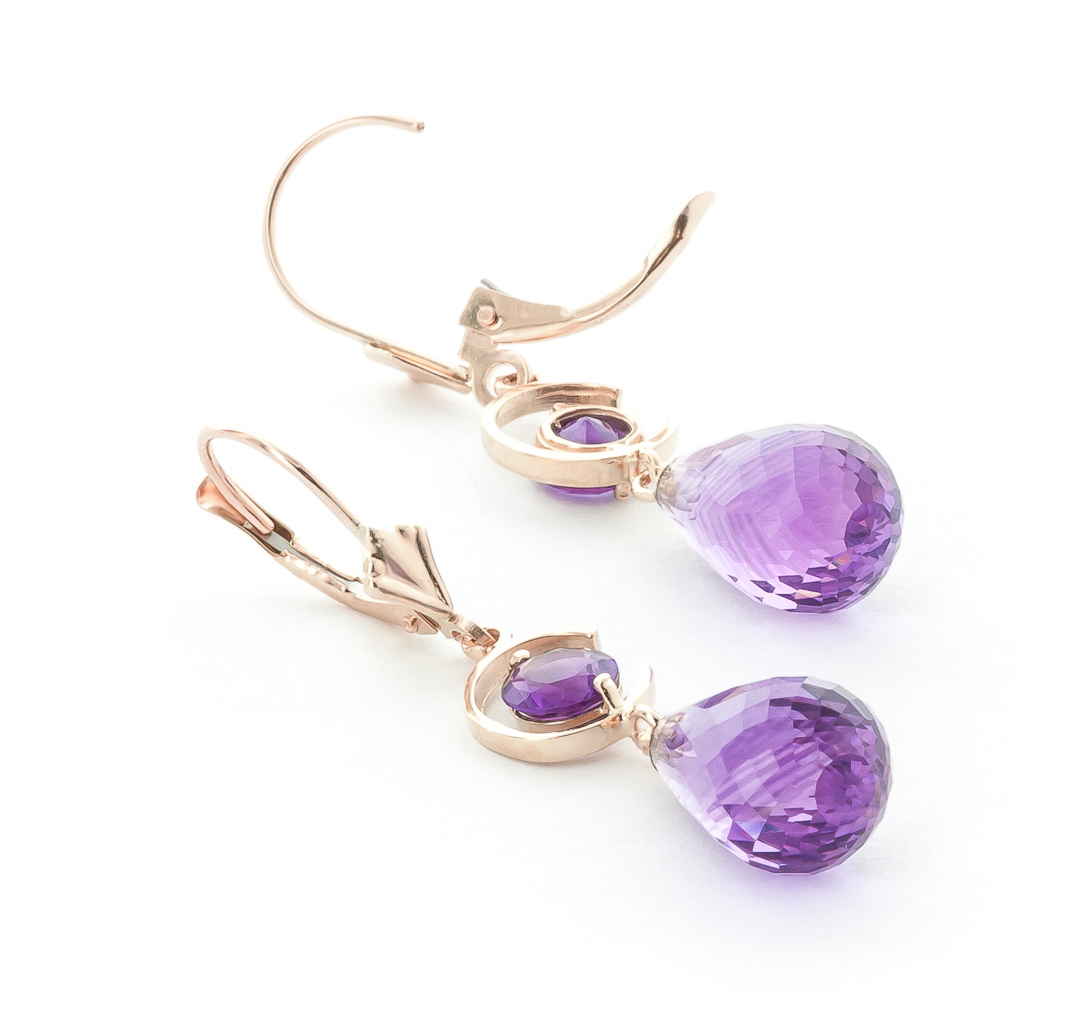 Amethyst Briolette Drop Earrings 11.0ctw in 14K Rose Gold