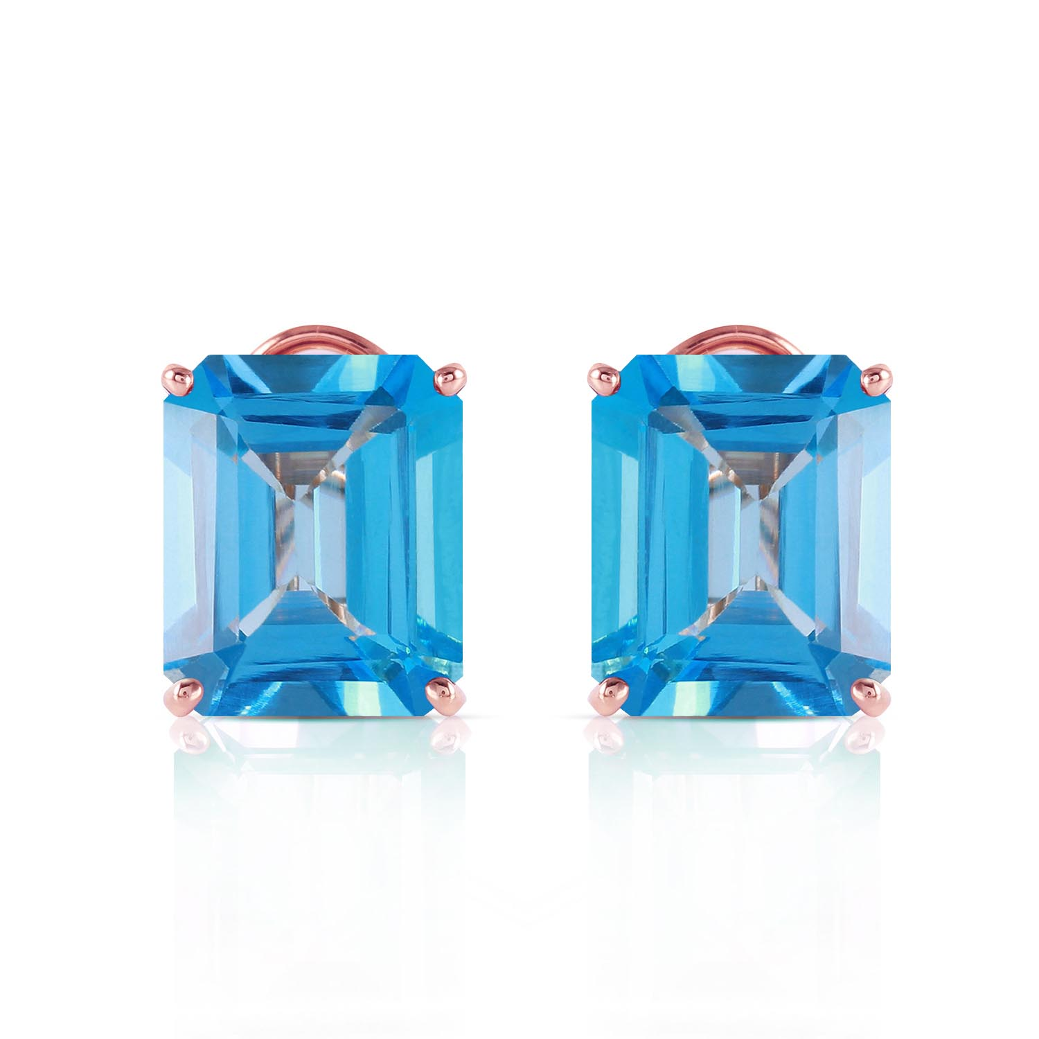 Blue Topaz Stud Earrings 14.0ctw in 14K Rose Gold