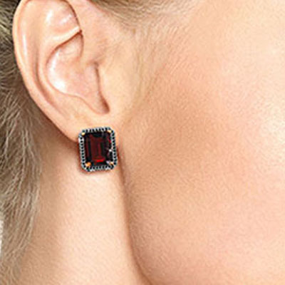 Garnet and Diamond Stud French Clip Halo Earrings 15.0ctw in 9ct Rose Gold