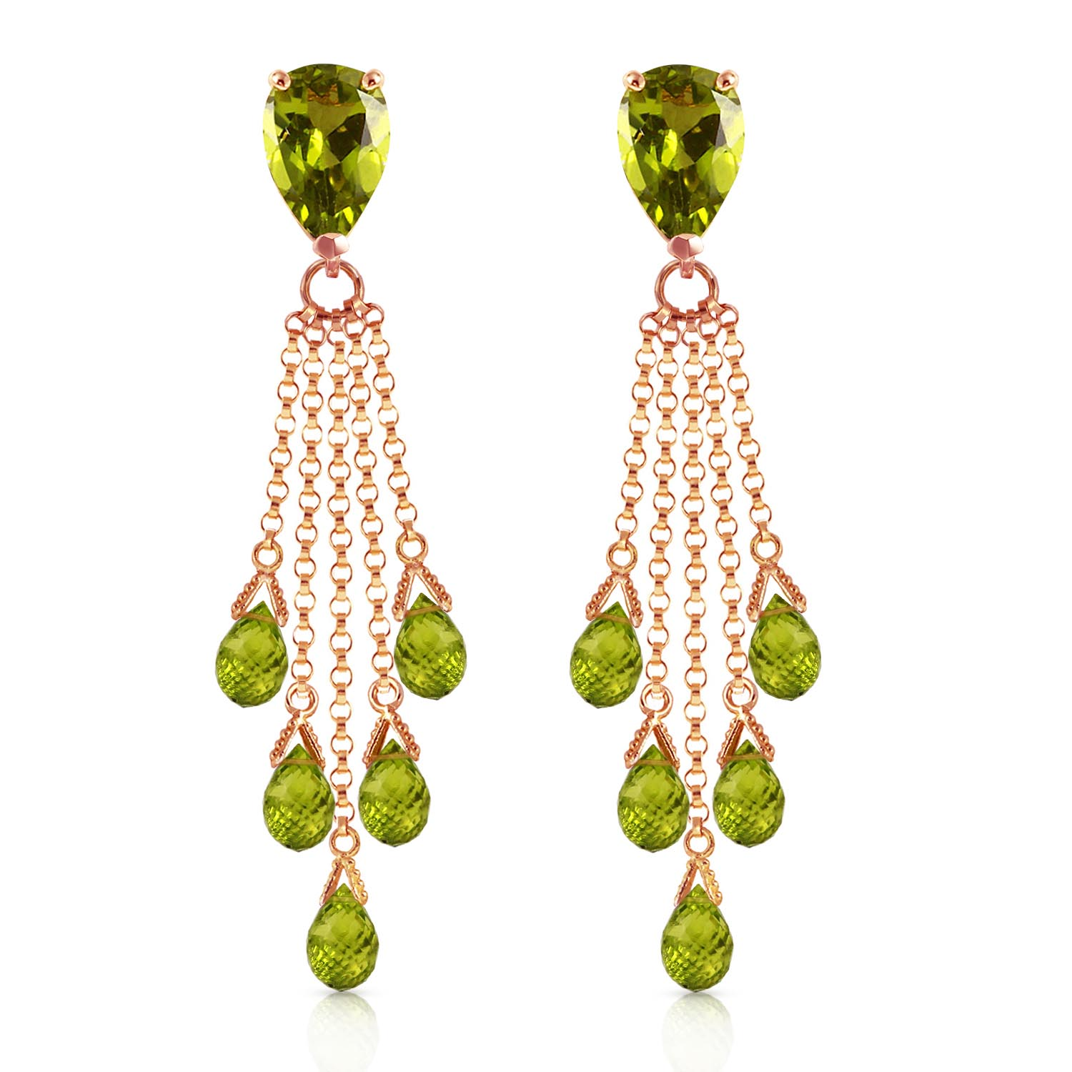 Peridot Comet Tail Drop Earrings 15.5ctw in 14K Rose Gold