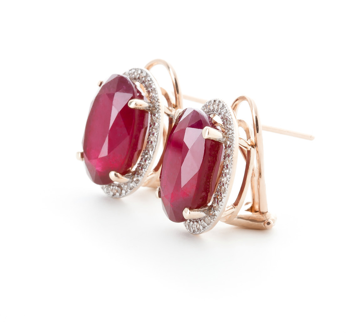 Ruby and Diamond French Clip Halo Earrings 15.5ctw in 14K Rose Gold