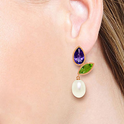 Gemstone Petal Drop Earrings 16.6ctw in 14K Rose Gold