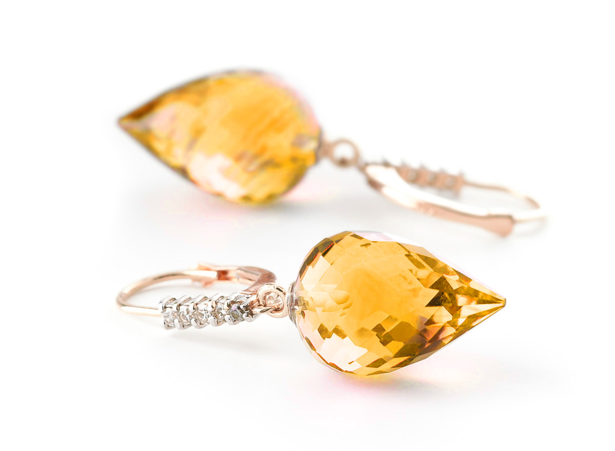 Citrine and Diamond Drop Earrings 19.0ctw in 9ct Rose Gold