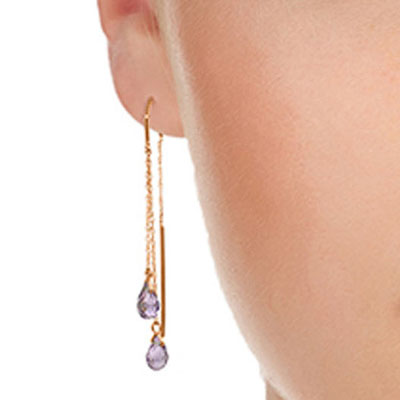 Amethyst Scintilla Briolette Earrings 2.5ctw in 14K Rose Gold