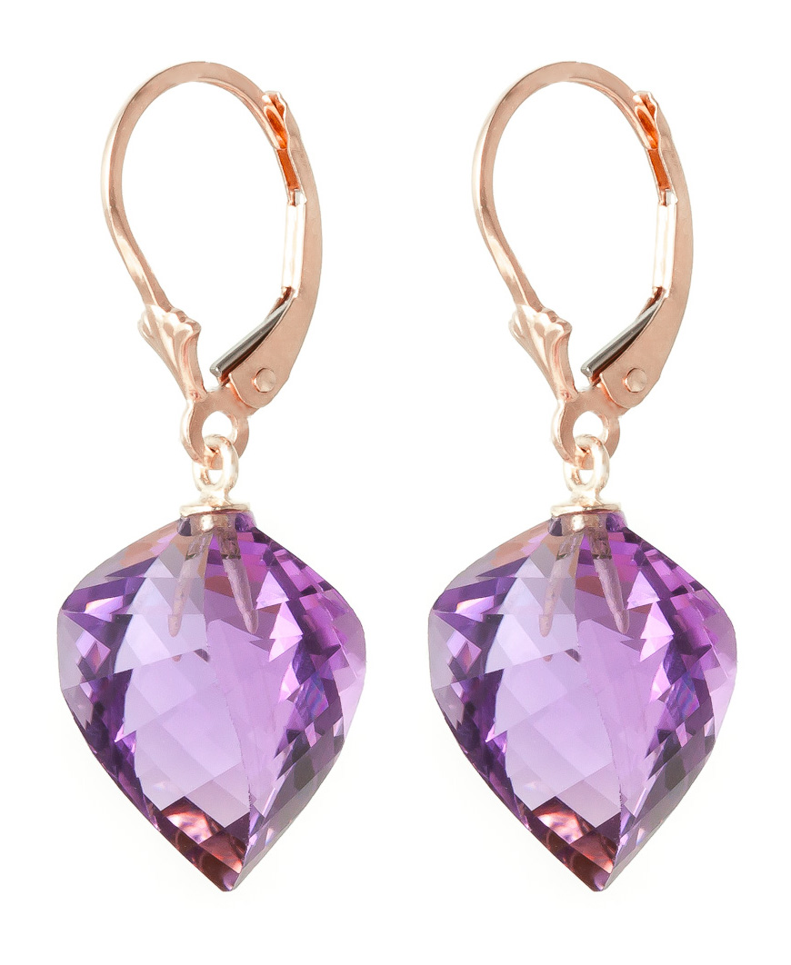 Amethyst Briolette Drop Earrings 21.5ctw in 14K Rose Gold