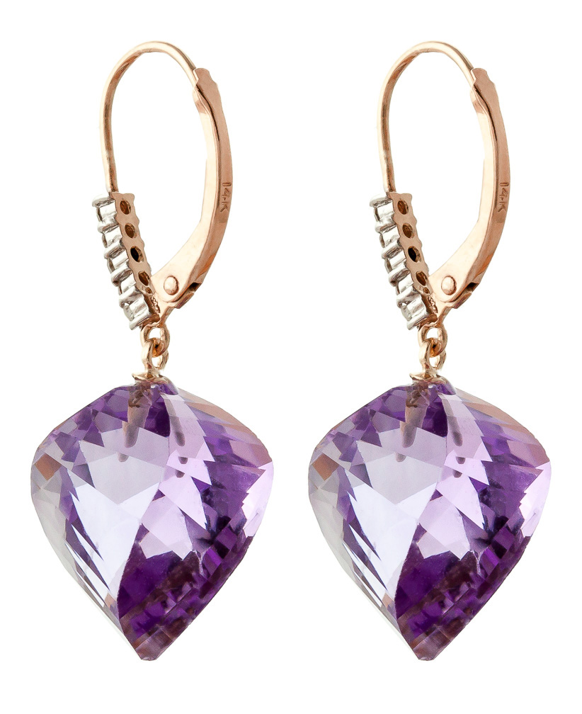 Amethyst and Diamond Drop Earrings 21.5ctw in 14K Rose Gold