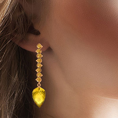 Citrine Briolette Drop Earrings 22.1ctw in 9ct Rose Gold