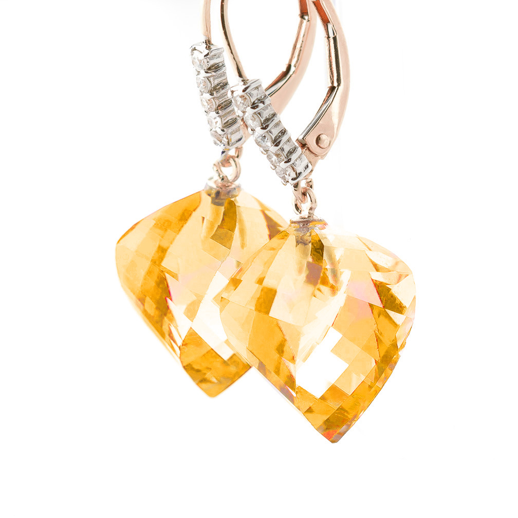 Citrine and Diamond Drop Earrings 23.5ctw in 9ct Rose Gold