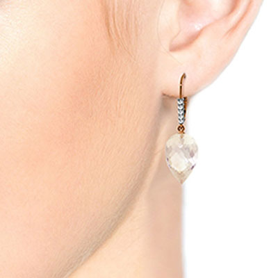 White Topaz and Diamond Drop Earrings 24.5ctw in 14K Rose Gold