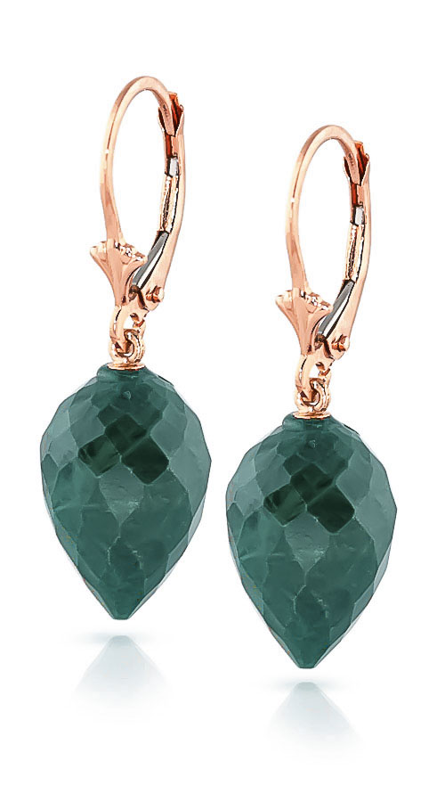 Emerald Briolette Drop Earrings 25.7ctw in 9ct Rose Gold