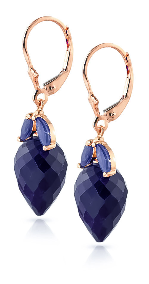 Sapphire Briolette Drop Earrings 26.8ctw in 14K Rose Gold
