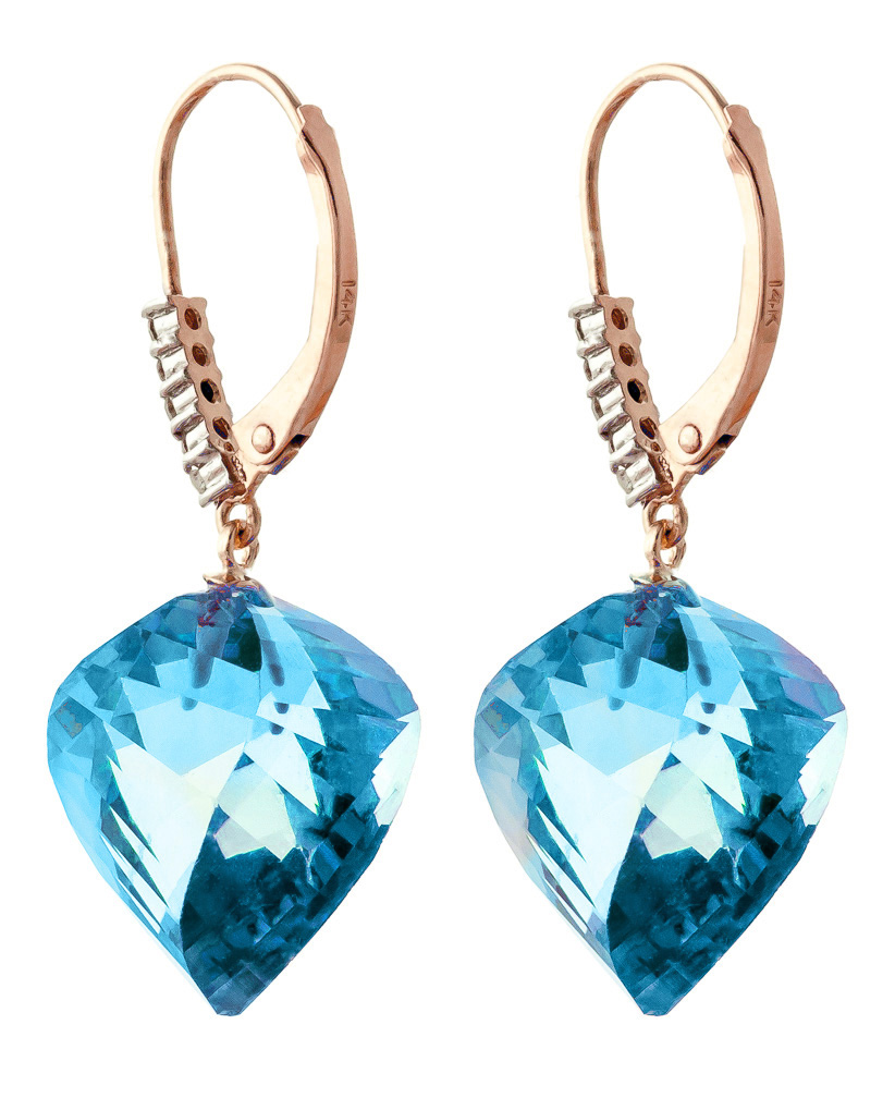 Blue Topaz and Diamond Drop Earrings 27.85ctw in 9ct Rose Gold