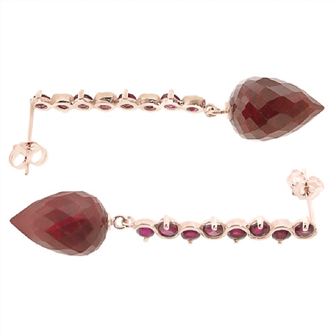 Ruby Briolette Drop Earrings 29.2ctw in 9ct Rose Gold