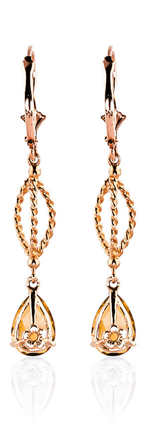 Citrine Sceptre Drop Earrings 3.0ctw in 9ct Rose Gold