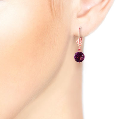 Amethyst Drop Earrings 3.1ctw in 14K Rose Gold
