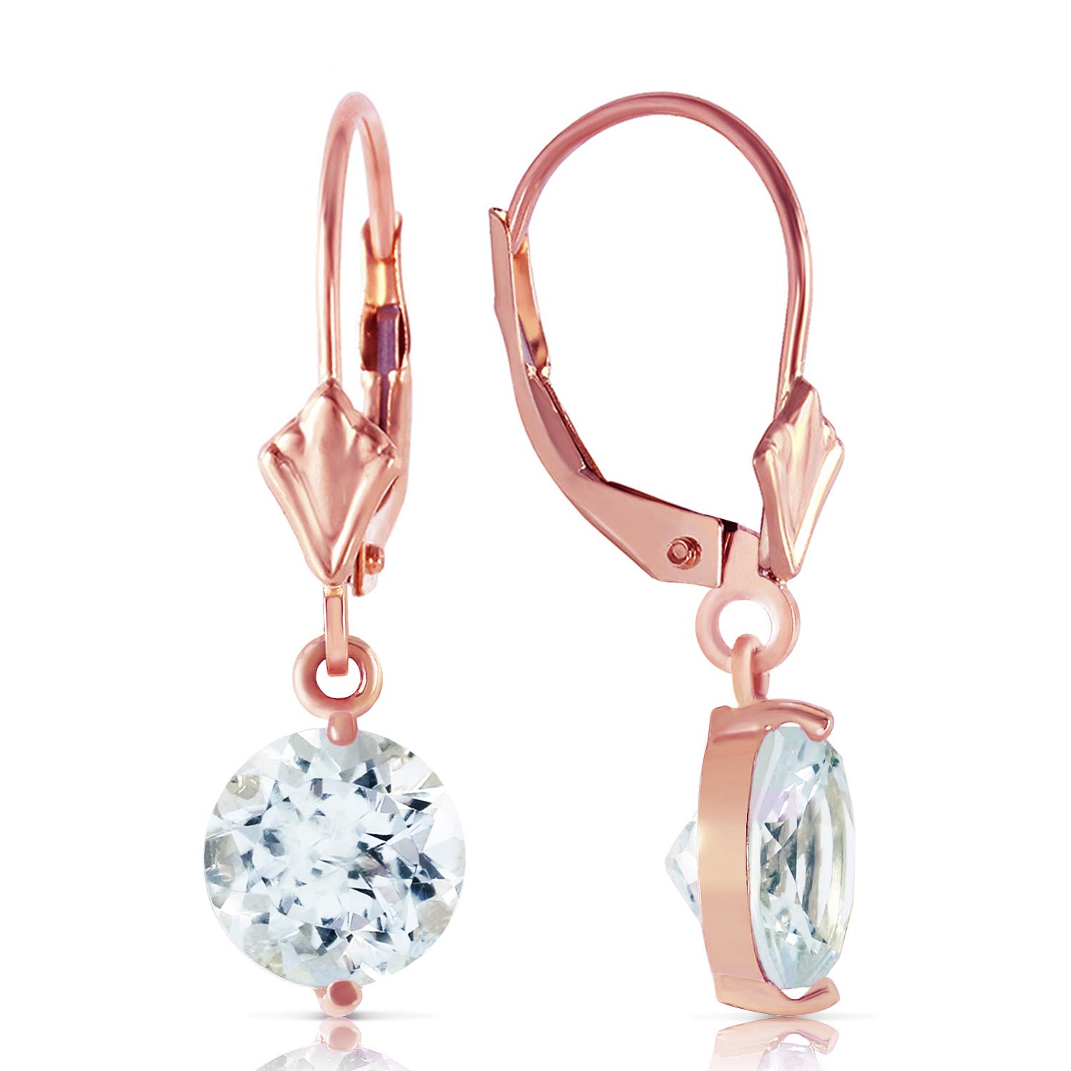 Aquamarine Drop Earrings 3.1ctw in 14K Rose Gold