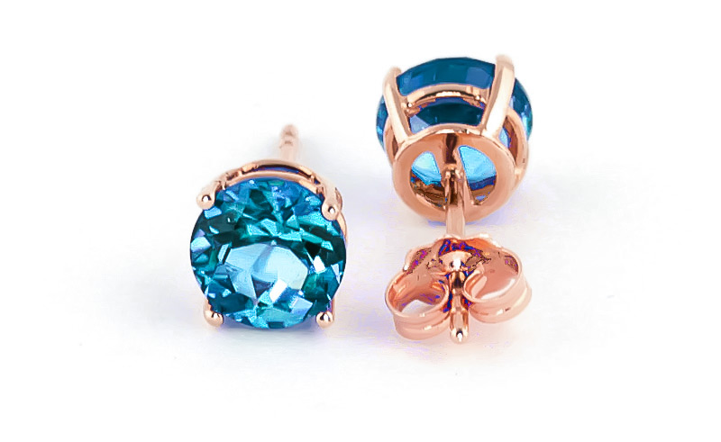 Blue Topaz Stud Earrings 3.1ctw in 9ct Rose Gold