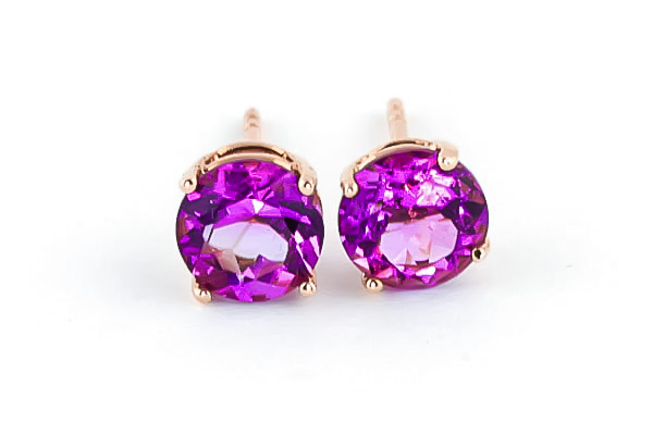 Pink Topaz Stud Earrings 3.1ctw in 14K Rose Gold