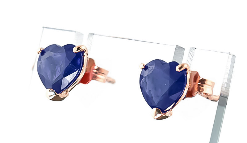 Sapphire Heart Stud Earrings 3.1ctw in 14K Rose Gold