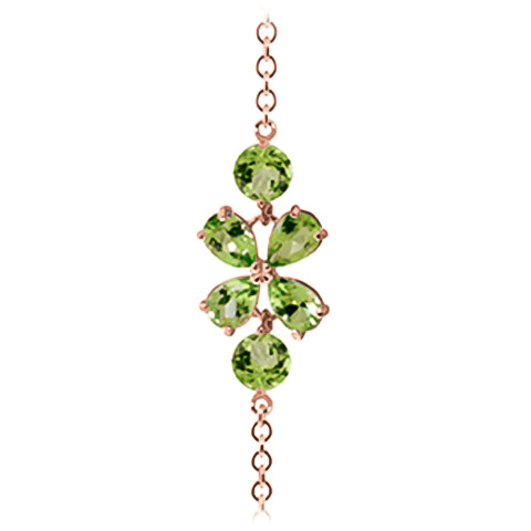Pear Cut Peridot Adjustable Bracelet 3.15ctw in 14K Rose Gold