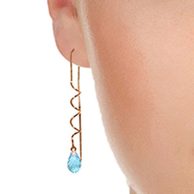 Blue Topaz Spiral Scintilla Briolette Earrings 3.3ctw in 9ct Rose Gold