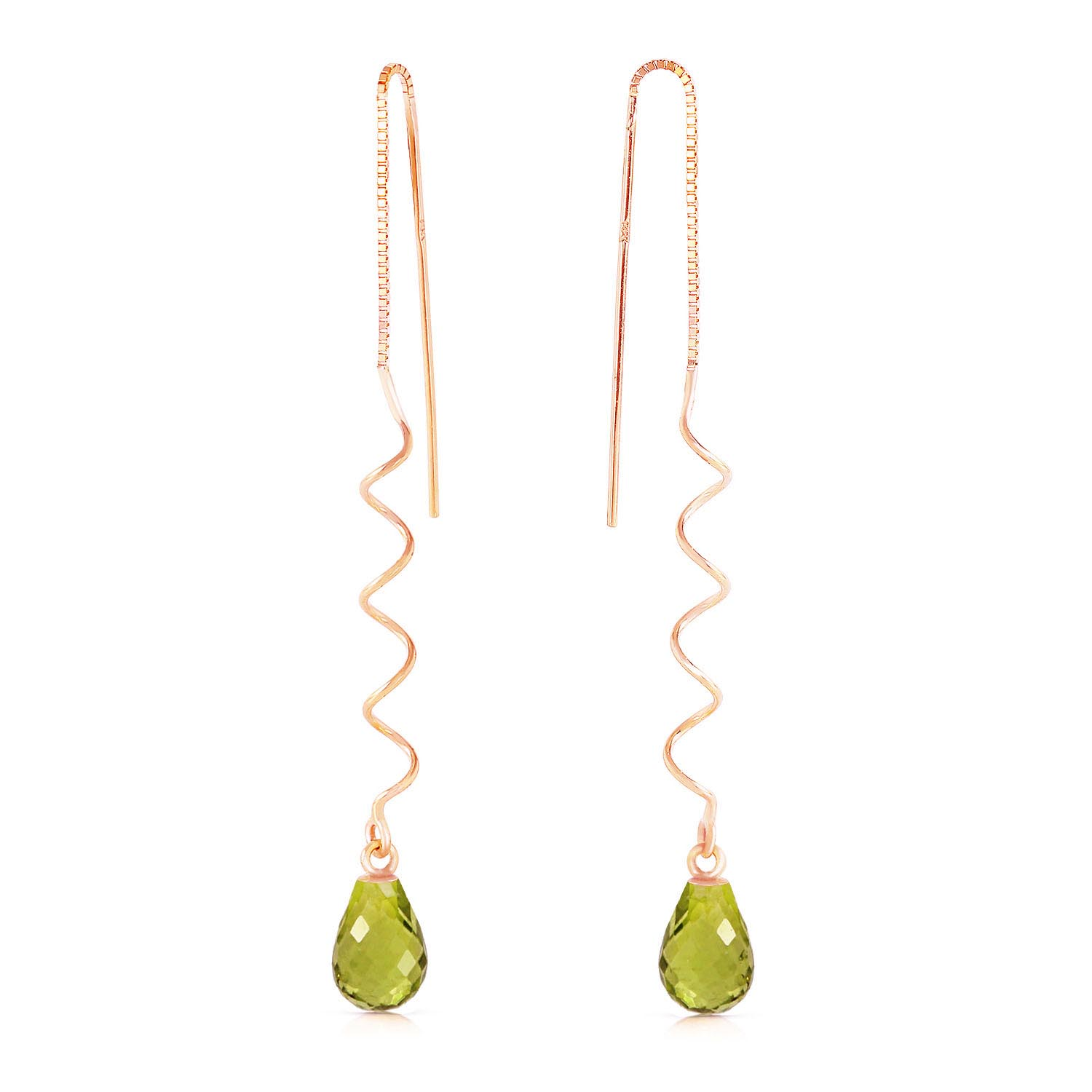 Peridot Spiral Scintilla Briolette Earrings 3.3ctw in 9ct Rose Gold