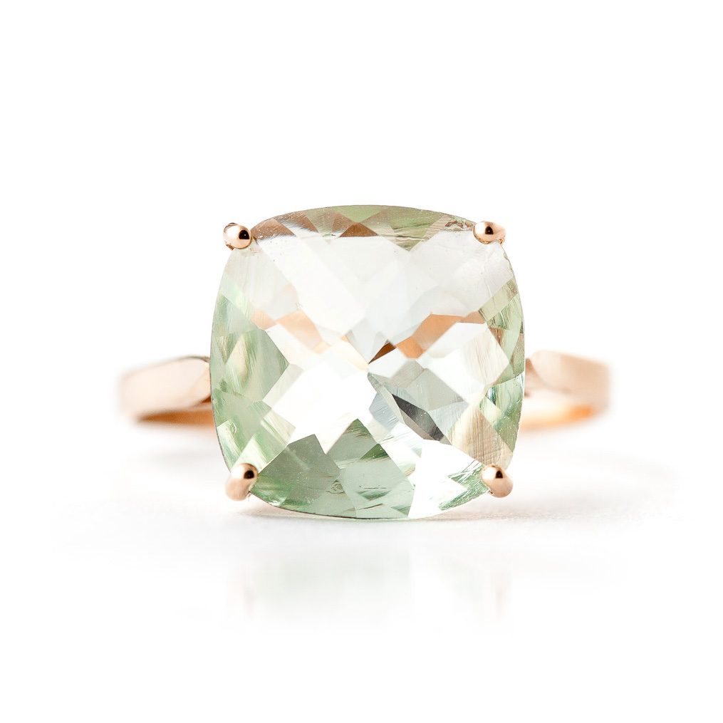Green Amethyst Rococo Ring 3.6ct in 9ct Rose Gold