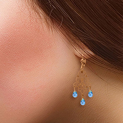 Blue Topaz Mirage Briolette Drop Earrings 3.75ctw in 14K Rose Gold