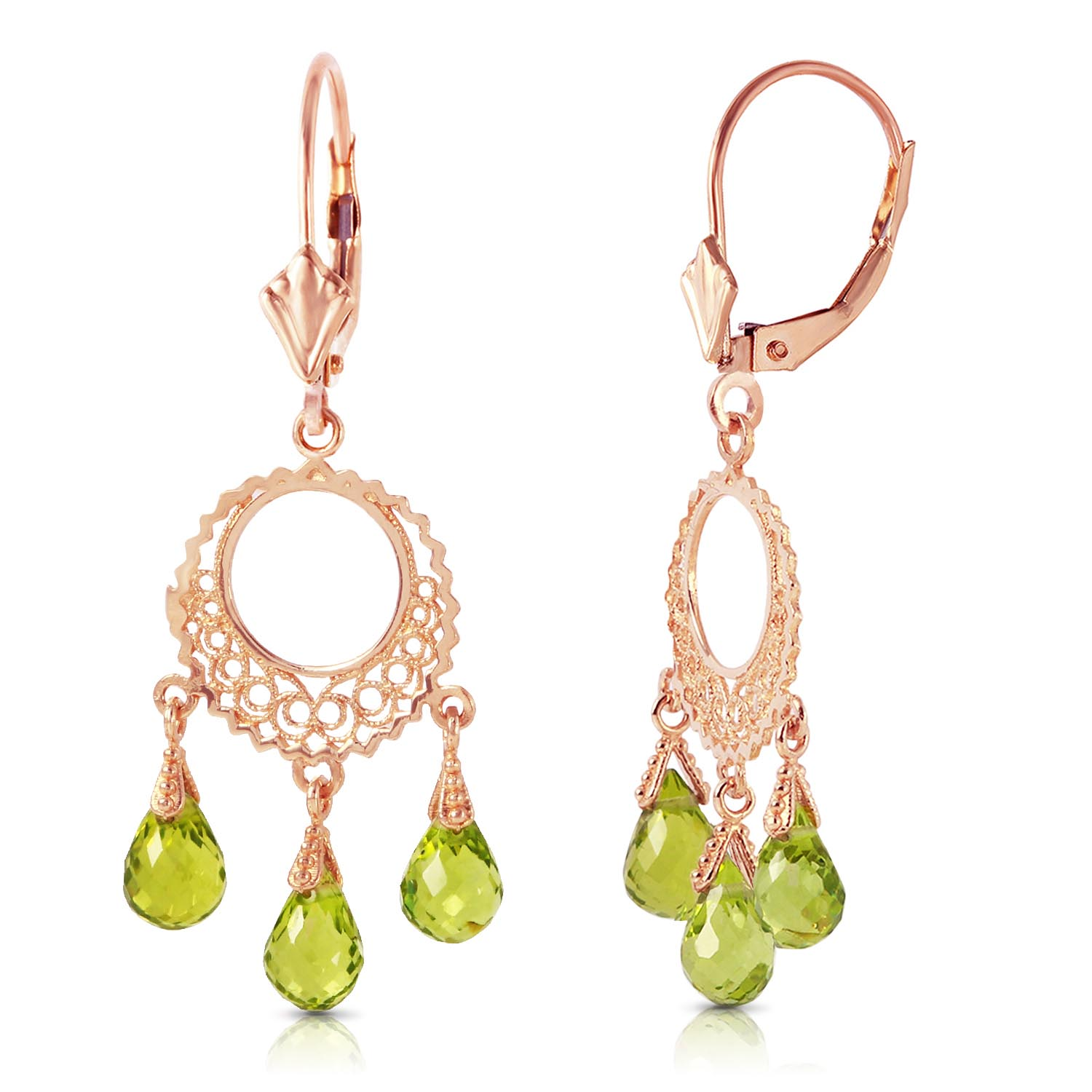 Peridot Trilogy Briolette Drop Earrings 3.75ctw in 14K Rose Gold