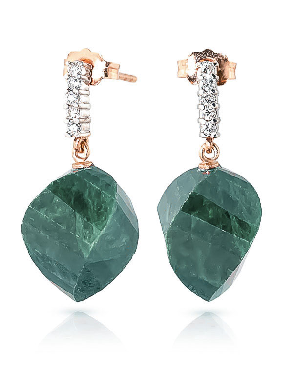 Emerald and Diamond Stud Earrings 30.5ctw in 14K Rose Gold