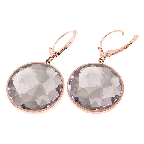 Amethyst Drop Earrings 36.0ctw in 14K Rose Gold